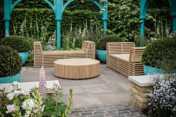 Chelsea Flower Show 2017 Lee Bestall Silver Medal winner furniture by Jonathan Stockton